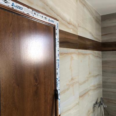 Puerta aluminio imitación madera Roble dorrado