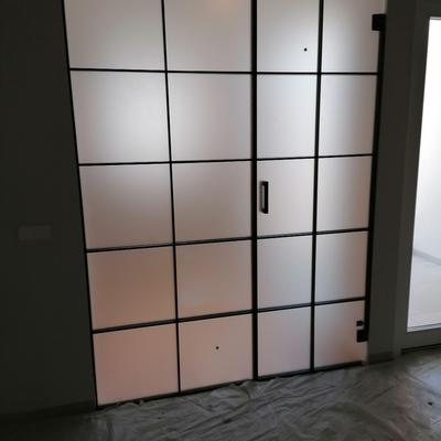 pared de cristal y puerta de paso