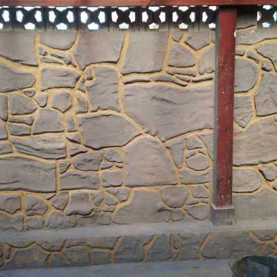 Detalles de hormigon impreso pared con vaciado de juntas