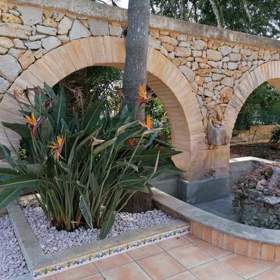 Fuente + piedra decorativa
