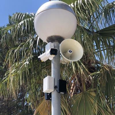 Cámaras CCTV y altavoz analítica video