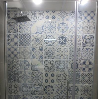 Mampara de cristal en placa ducha.