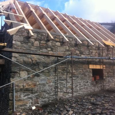 Montaje de cubierta de madera en Rehabilitación
