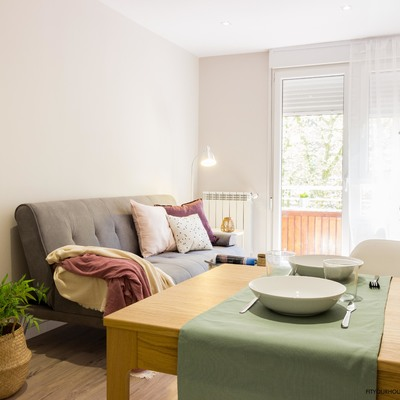 detalle reforma y home staging apartamento urbano. Salón comedor