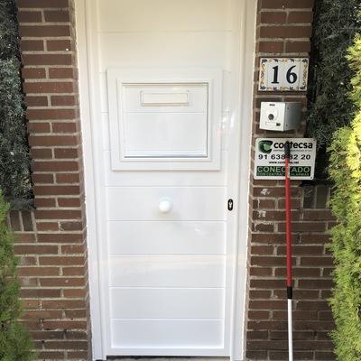 Puerta de aluminio soldado de lama 200 horizontal con puerta incorporada para buzón lacada en ral blanco