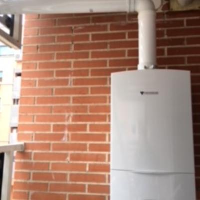 Instalación caldera en terraza