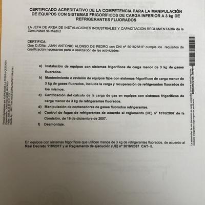 certificado manipulador gases fluorados