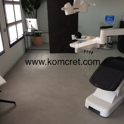 Clinica dental , Suelo realizado en microcemento color acero