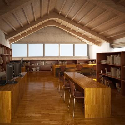 Infografía interior biblioteca