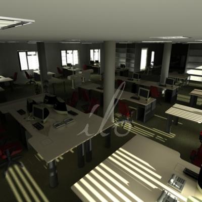 infografía interior de oficinas 2