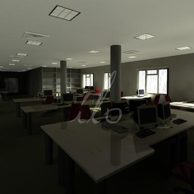Infografía interior oficinas