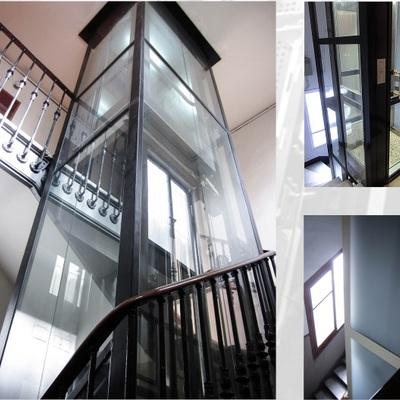 Ascensor acristalado en Zaragoza  instalado en hueco escalera