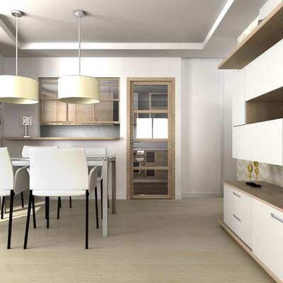 Vista de Salón y cocina de diseño de vivienda unifamiliar