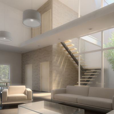 Interior de vivienda unifamiliar entre medianeras