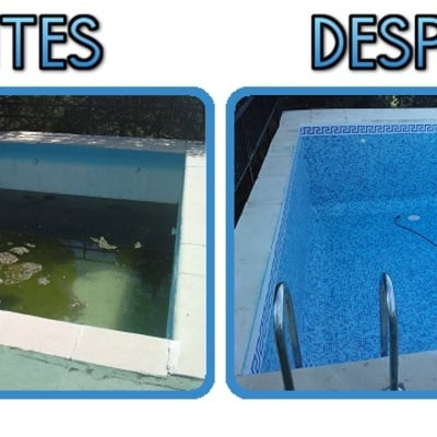 La piscina antes y después de reparar.