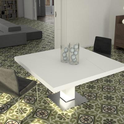 Mesa cuadrada en laca blanca y acero.
