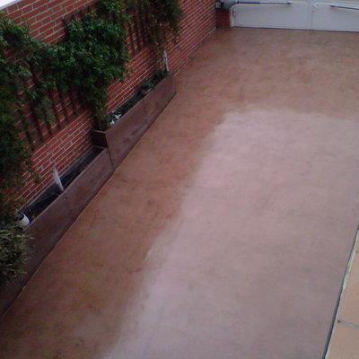 Microcemento en suelo exterior