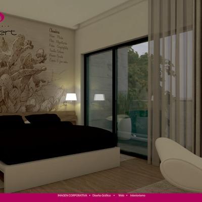 3D interior dormitorio fotorrealista