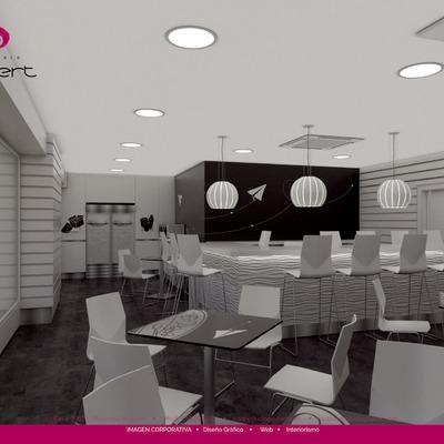 3D cafetería fotorrealista
