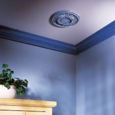 Molduras y plafon de escayola en tonos azules para slon estilo mderno