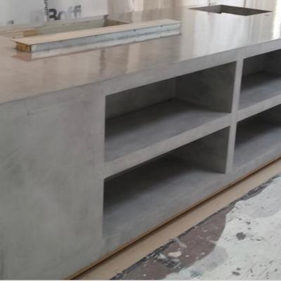 Mueble de cocina revestido con microcemento gris
