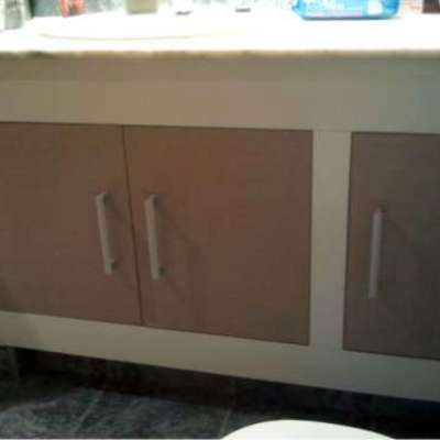 Mueble de baño fabricado melamina blanca y melamina lino cancun