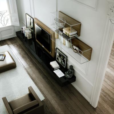 Mueble tv Suspendido lacado negro