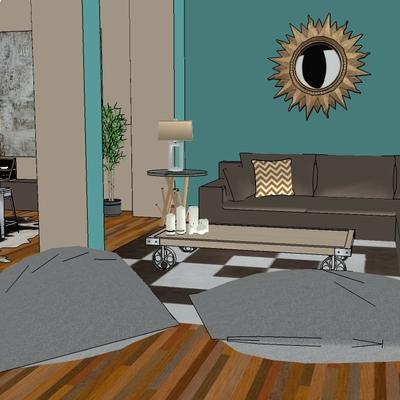 Propuesta 3D para decoración de buhardilla