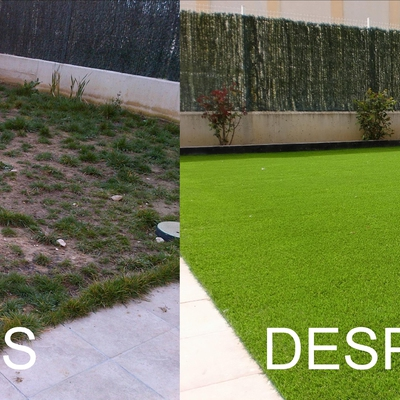 Antes y después de la instalación sobre tierra.