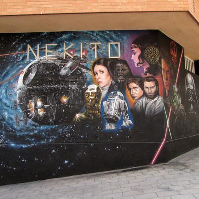Decoración mural comercial.