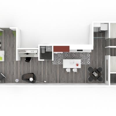 Vista aérea, diseño de reforma total de vivienda