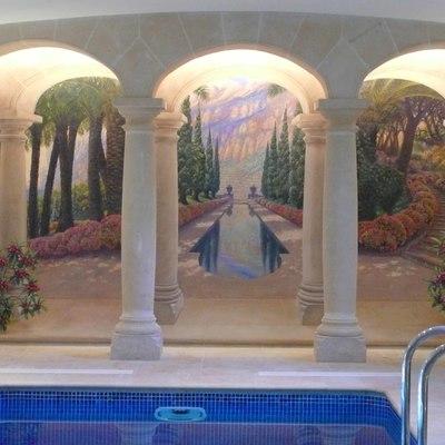 Piscina, Jardin y fuente arabe 01