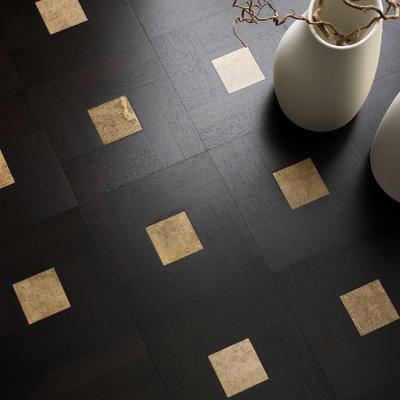 Pavimento artesanal madera-mármol