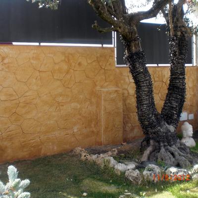 Pavimento impreso vertical piedra irregular