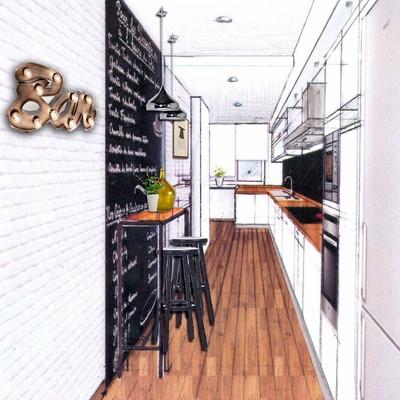 Perspectiva boceto de cocina