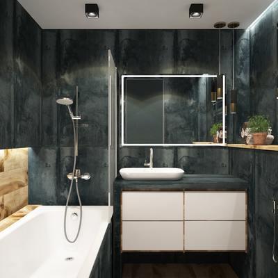 Baño contrate de azulejos oscuros