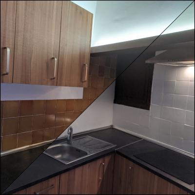 Pintura de baldosas en una cocina