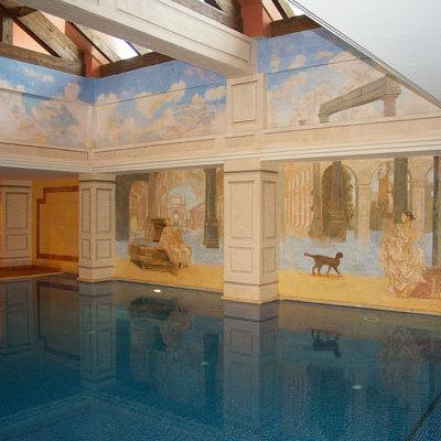 Pintura mural en piscina