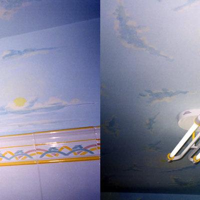 Pinturas decorativas en baño motivos celestes.