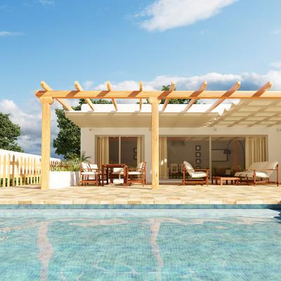 Infografía 3d, Render. Casa de campo con piscina