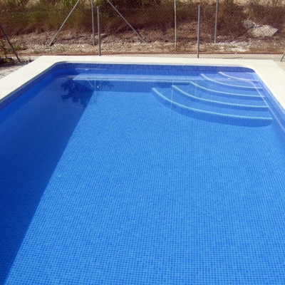 PISCINA RECTANGULAR CON ESCALERA Y  BANCO