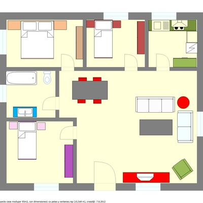 plano de vivienda 90 m2