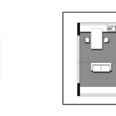 """Planta y axonométrica """"Casa Cubo"""""""