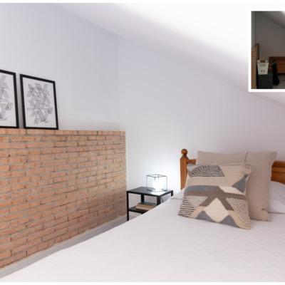 POMO. Home Staging. Loranca, Madrid. Dormitorio doble abuhardillado