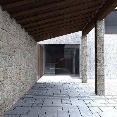 Porche existente-entrada edificio nueva planta, Centro Cultural en la Helios