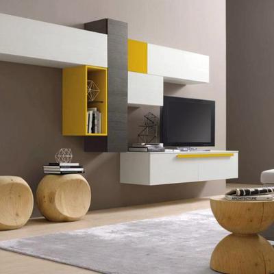 Proyecto de Laura, salón completo con una buena idea para las puertas de los muebles