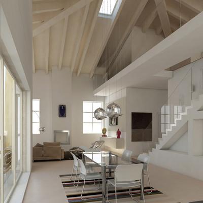 Proyecto interiorismo 3D de salón 2 alturas