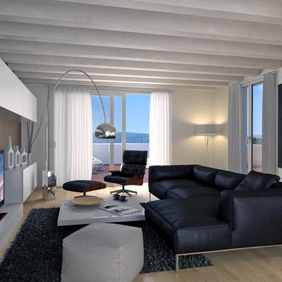 Proyecto interiorismo 3D de salón buhardilla