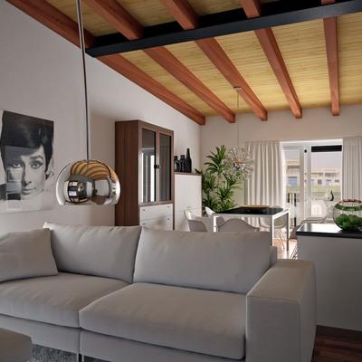Proyecto interiorismo 3D de salón con vigas