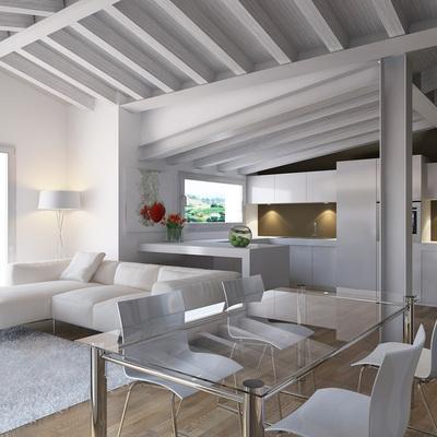 Proyecto interiorismo 3D de salón moderno buhardilla